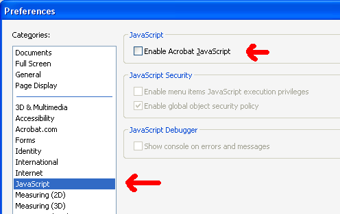how to disable adobe javascript